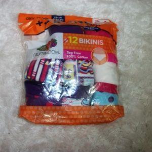 Fruit of the Loom Girls 11 Pair Underwear Size 4